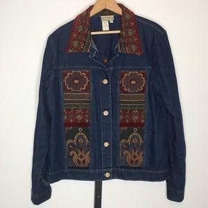 Coldwater Creek Denim Tapestry Jacket L Blue Jean
